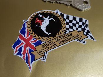 "Ariel Rearing Horse Flag & Scroll Sticker 3.75"""