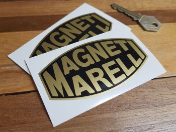"Magneti Marelli Black & Gold Blunted Oval Stickers 4"" Pair"
