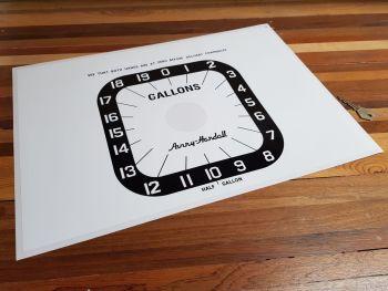 "Avery Hardoll Petrol Pump Style 5 Gallons Clock Face Sticker. 18.5""."