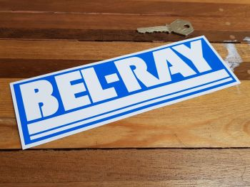 "Bel-Ray Blue & White Oblong Sticker. 8""."