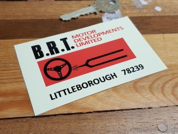 "B.R.T. Motor Developments Limited Sticker 4"""
