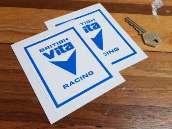 "British Vita Racing Logo Stickers. 4"" or 5"" Pair."