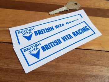 """British Vita Racing Oblong Stickers. 4.5"""" Pair."""