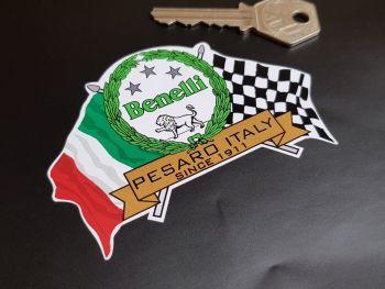 "Benelli Flag & Scroll Sticker 3.75"""