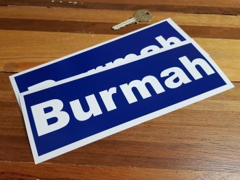 """Burmah Classic 70's Wider Style Racing Stickers. 8.5"""" Pair."""