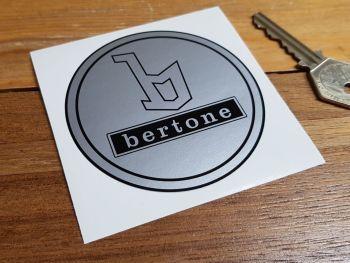 Bertone Black & Silver Circular Sticker. 80mm.