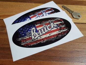 "Buick Oval Stars & Stripes Fade To Black Sticker. 3"", 4"", 6"" or 8""."