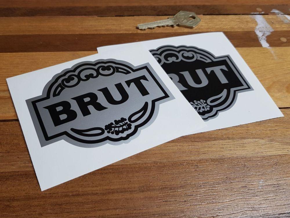 Brut Aftershave Sponsors  Black & Silver Stickers. 4