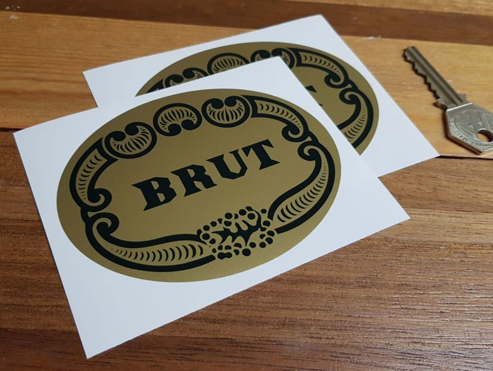 Brut Aftershave Green & Gold Sponsors Stickers. 4