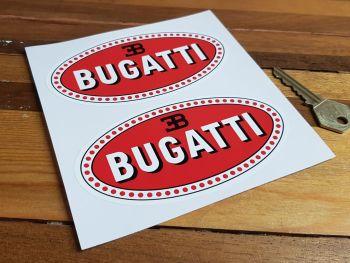 "Bugatti Oval Stickers. 3"", 4"" or 5"" Pair."