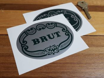 "Brut Aftershave Sponsors Stickers. 4"", 4.75"" or 6.5"" Pair."