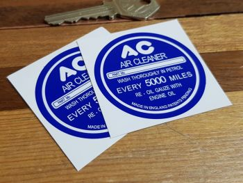 """AC Air Cleaner Dark Blue Special Offer Stickers. 2"""" Pair."""