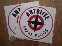 Autolite with Black Spark Plugs Text Round Stickers. 3