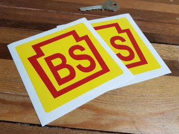 "Bridgestone 'BS' Early Style Stickers. 4"" Pair."