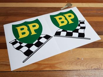 """BP '58 - '89 Shield & Chequered Flag No Yellow Border Stickers. 6"""" Pair."""