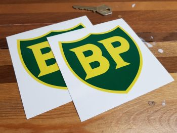 """BP '58 - '89 Shield with Yellow Border Stickers. 2"""", 3"""", 4"""" or 6"""" Pair."""