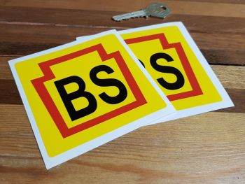 "Bridgestone Black 'BS' Early Style Stickers. 4"" Pair."
