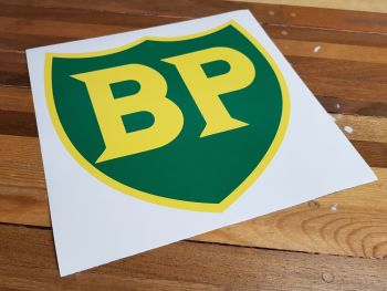 """BP '58 - '89 Shield with Yellow Border Sticker. 10"""" or 12""""."""