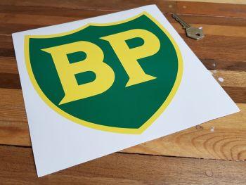 "BP '58 - '89 Shield with Yellow Border Sticker. 8""."