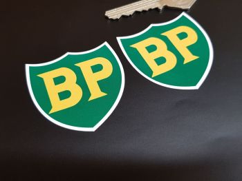 """BP '58 - '89 Shield with White Border Stickers - 2"""", 3"""", 4"""" or 6"""" Pair"""