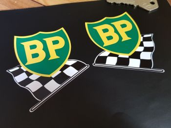 BP '58 - '89 Shield & Chequered Flag with Yellow Border Stickers. Various Sizes.