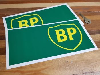 """BP Green & Yellow 90's Style Handed Oblong Stickers 10"""" Pair"""