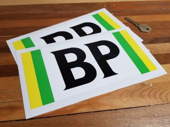 """BP Green & Yellow Side Striped Stickers. 8"""" Pair."""