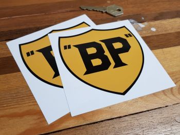 """BP Old Style Yellow & Black Stickers. 4"""" or 6"""" Pair."""