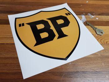 "BP Old Style Yellow & Black Sticker. 8""."