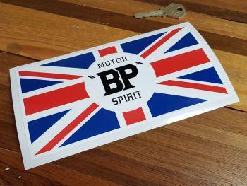 "BP Motor Spirit Union Jack Pre-War style Oblong Sticker. 6"" or 8""."