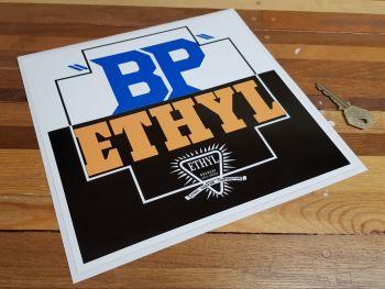 "BP Ethyl Square Sticker. 9"" or 12""."