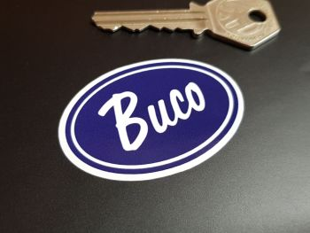 """Buco Helmets Blue & White Coach Lined Oval Stickers 2.25"""" Pair"""