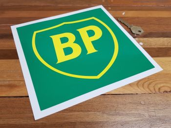 """BP Green & Yellow 90's Style Shield in Square Sticker. 8""""."""