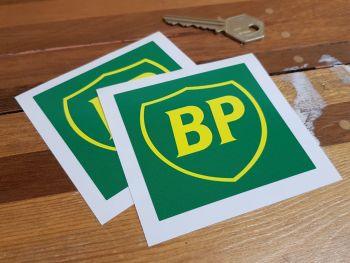 """BP Green & Yellow 90's Style Shield in Square Stickers. 3"""" Pair."""