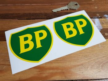 """BP '89 & On Coloured Shield Stickers. 2"""", 2.5"""", 3"""", 4"""" or 6"""" Pairs."""