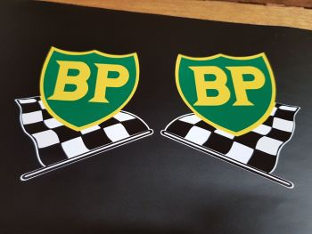 """BP '58 - '89 Shield & Chequered Flag with Yellow Border Stickers 9.5"""" Pair"""