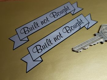 """Built Not Bought Scroll Stickers - Various Colours - 4"""" Pair."""