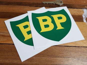 """BP '58 - '89 Shield with No Yellow Border Stickers. 4"""" or 6"""" Pair."""