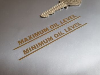 "Maximum & Minimum Oil Level Gold on Clear Indicator Stickers 3.5"" Pair"