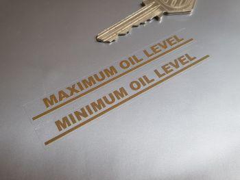 """Maximum & Minimum Oil Level Gold on Clear Indicator Stickers 3.5"""" Pair"""