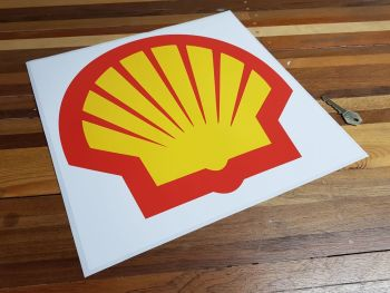 "Shell Modern Logo on White Square Sticker 14"""
