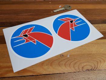 """Matra Circular Cockerel Logo Stickers - White Border - 4"""" Pair"""