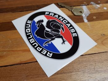"""Republique Francaise France Rooster Oval Sticker 5"""""""