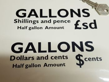 Gallons & Pricing £/$ Petrol Pump Stickers Set