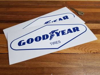 "Goodyear Tires Blue & White Diamond Stickers - 6"" or 10"" Pair"