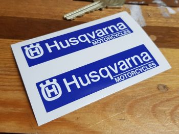 Husqvarna Oblong Stickers - Blue & White - 85mm Pair