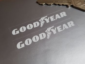 Goodyear White on Clear Oblong Stickers 60mm Pair