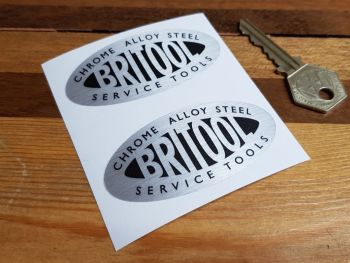 Britool Service Tools Oval Stickers - Brushed Foil - 75mm Pair