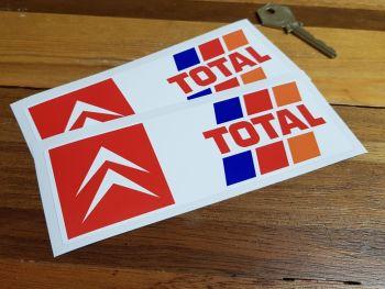 "Citroen Total Oblong Stickers 6"" Pair"