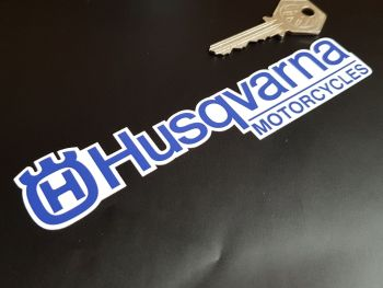 "Husqvarna Motorcycles Shaped Text Stickers - Blue & White - 6"" Pair"